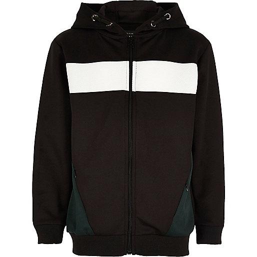 Schwarzer Colorblock-Hoodie mit Reißverschluss