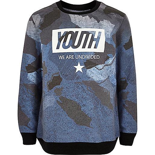 "Blaues, bedrucktes Sweatshirt mit ""Youth""-Print"