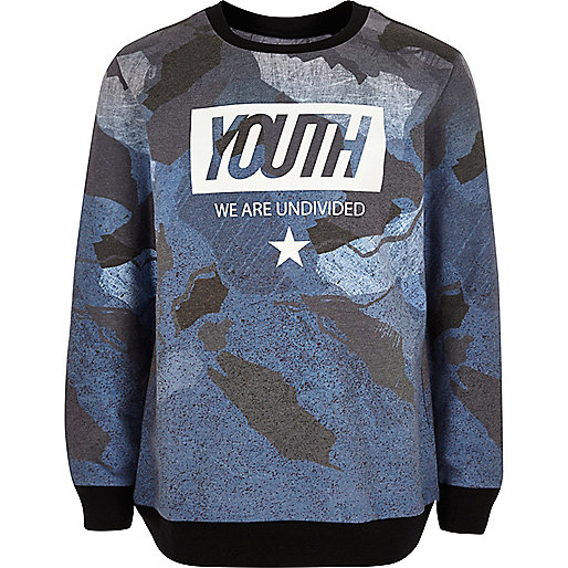 Boys blue 'Youth' print sweatshirt