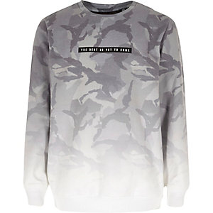 Boys grey faded camouflage sweatshirt