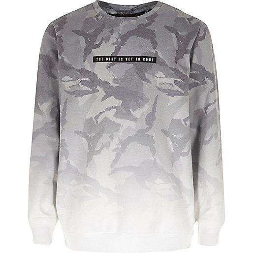 Boys grey faded camo sweatshirt