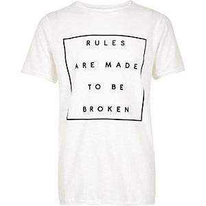 Boys white print textured t-shirt