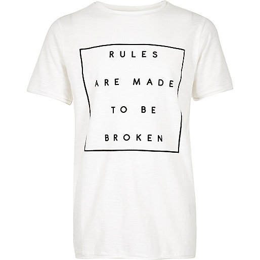 Boys white print textured t-shirt