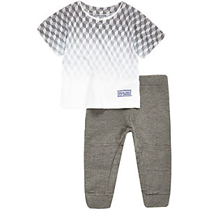 Mini boys grey print t-shirt joggers outfit