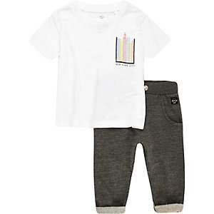 Mini boys white NYC t-shirt joggers outfit