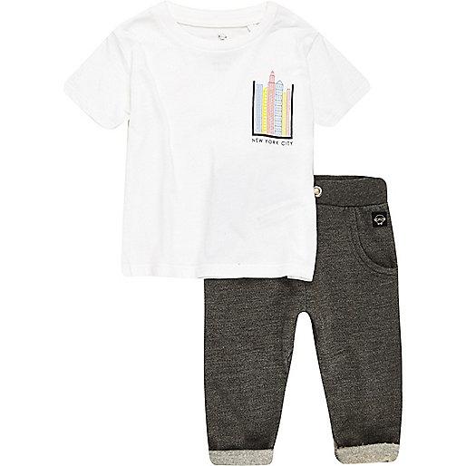 Ensemble pantalon de jogging et t-shirt imprimé NYC blanc pour mini garçon