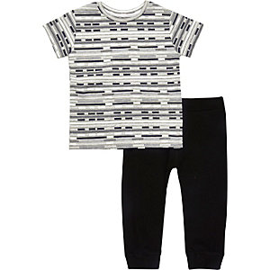 Mini boys black stripe t-shirt joggers outfit