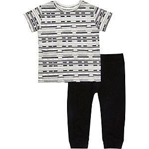 Ensemble pantalon de jogging et t-shirt rayé noir pour mini garçon