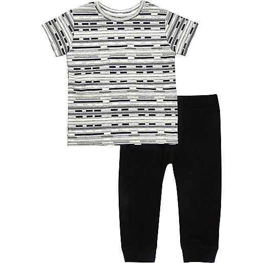 Mini boys black stripe t-shirt joggers outfit