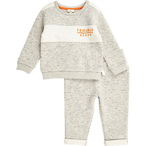 Mini boys grey sweat set