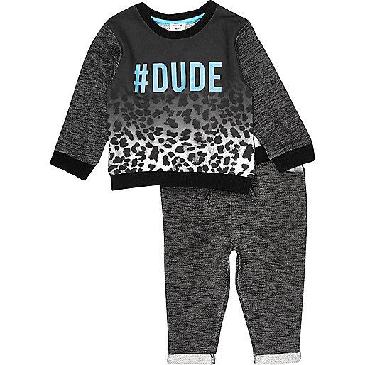 Mini boys black '#Dude' top and joggers set