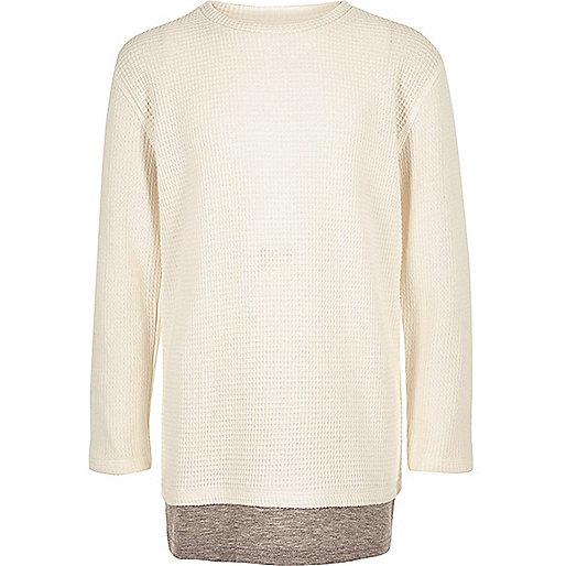 Boys ecru layered long sleeve T-shirt