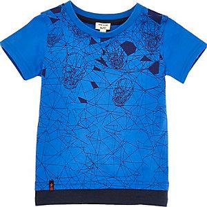 T-shirt imprimé tête de mort bleu à superposition pour mini garçon