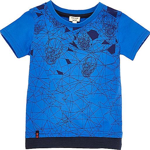 T-shirt imprimé tête de mort bleu à superposition mini garçon
