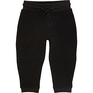 Mini boys black textured joggers