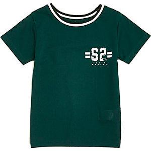 T-shirt vert mini garçon à liserés contrastants