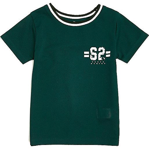 Mini boys green ringer T-shirt