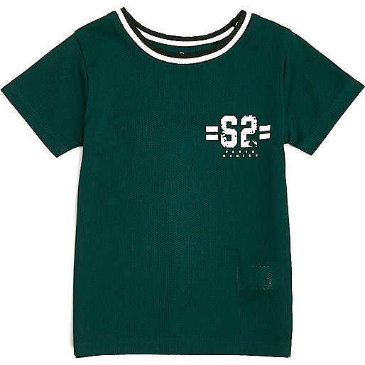 Mini boys green ringer T-shirt
