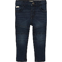 Mini boys dusty blue biker skinny jeans