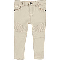 Mini boys white biker skinny jeans