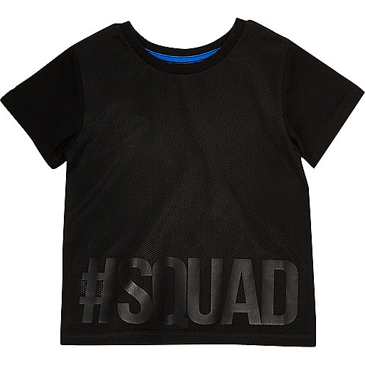Mini boys black squad tee