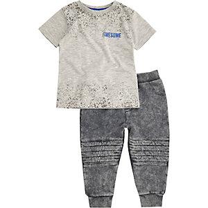 Ensemble pantalon de jogging et t-shirt gris mini garçon