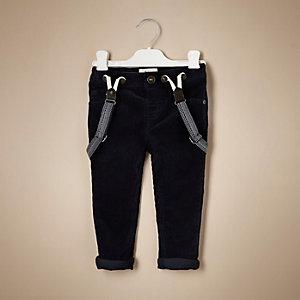 Pantalon en velours côtelé bleu marine mini garçon