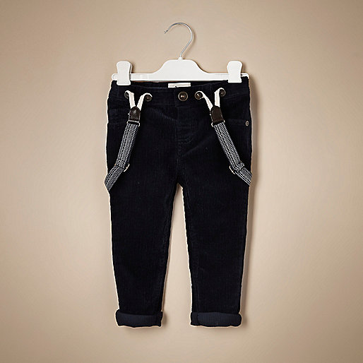 Mini boys navy corduroy trousers