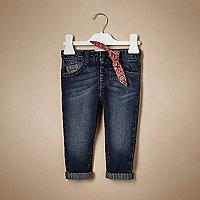 Unisex mid wash bandana jeans