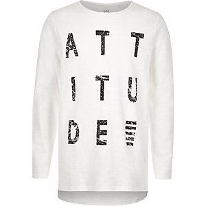 Boys white attitude print T-shirt