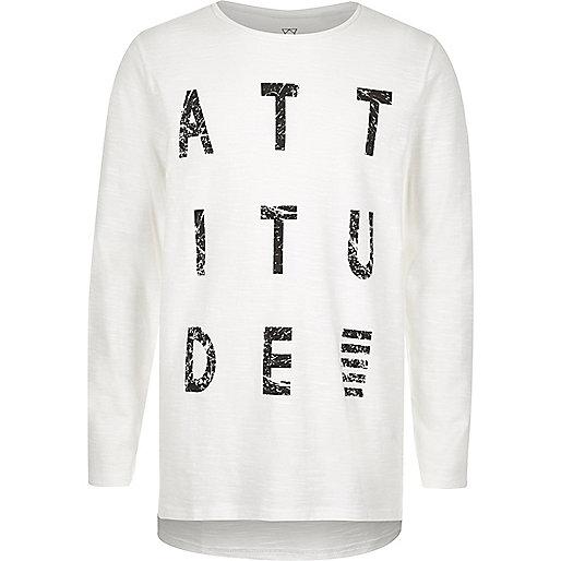 T-shirt à imprimé Attitude blanc pour garçon