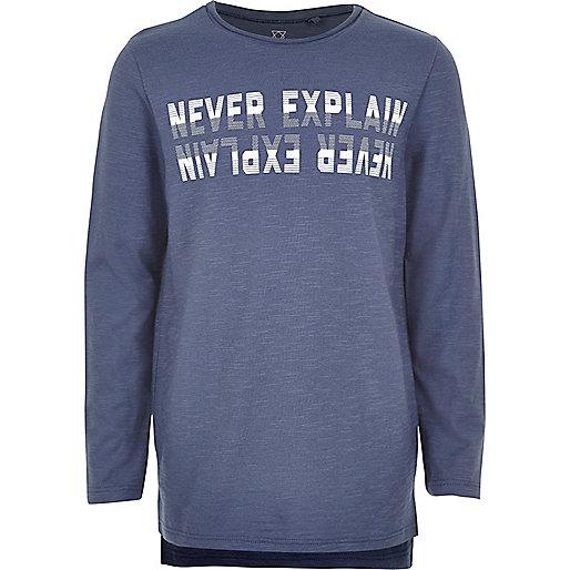 Blaues T-Shirt mit Slogan-Print