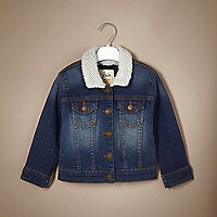 Unisex blue fleece denim jacket