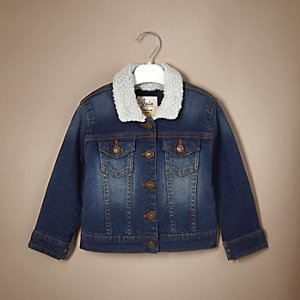 Unisex blue borg denim jacket