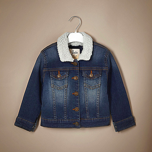 Blaue Unisex-Jeansjacke mit Borgfutter