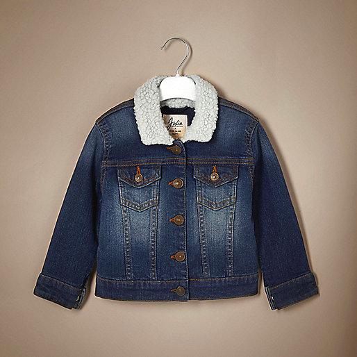 Unisex blue fleece denim jacket