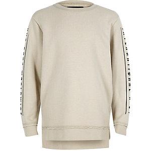 Sweatshirt mit bedruckten Ärmeln in Ecru