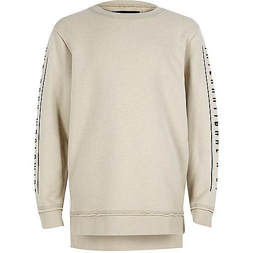 Boys ecru print sleeve sweatshirt