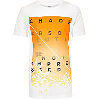 Boys white faded 'chaos' print t-shirt
