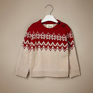 Mini boys red fairisle cashmere jumper
