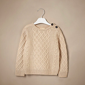 Unisex cream cable knit sweater with cashmere