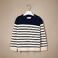 Mini boys navy stripe cashmere knit sweater