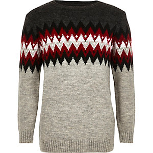 Boys grey zig zag sweater