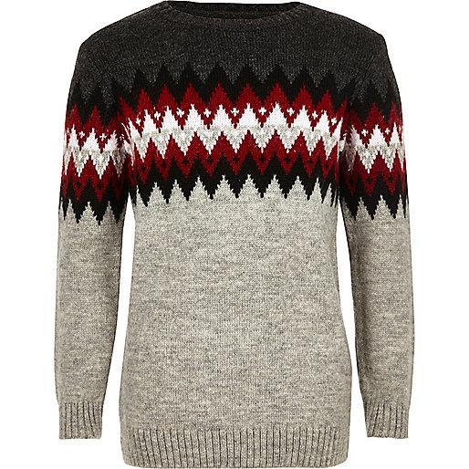 Grauer Pullover mit Zickzackmuster für Jungen