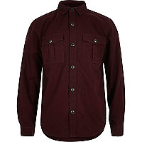 Boys dark red military Oxford shirt