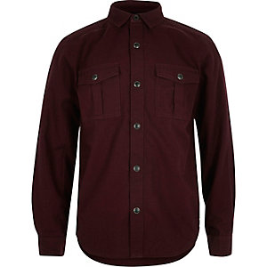 Boys dark red military Oxford shirt