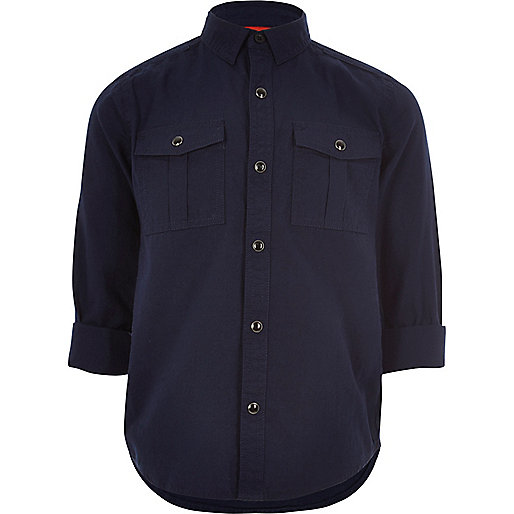 Boys dark navy military Oxford shirt