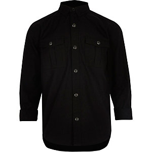 Boys black military Oxford shirt