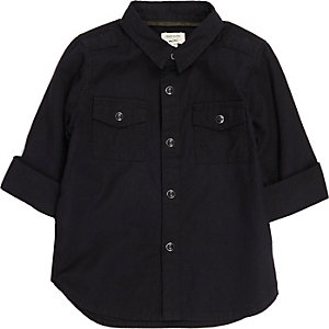 Mini boys black military Oxford shirt