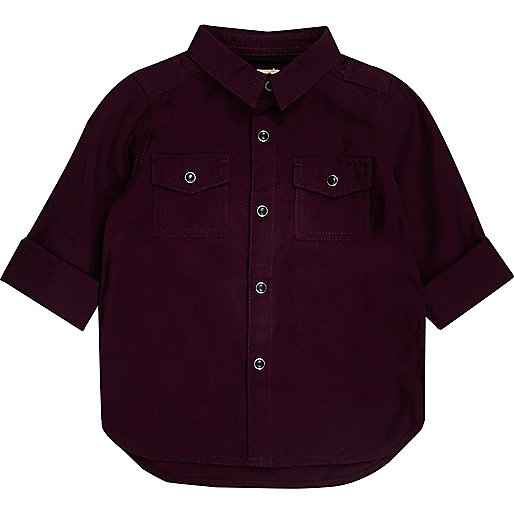 Mini boys dark red Oxford shirt